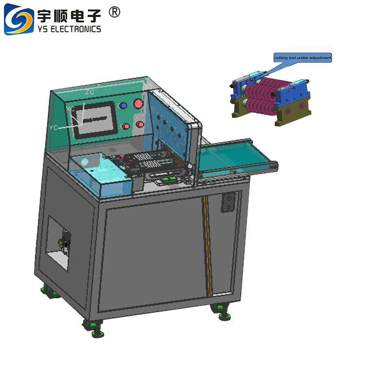 Our component height near to V-groove is 15 mm Aluminium PCB depanelizer, PCB cutting machine Pre scored v cut